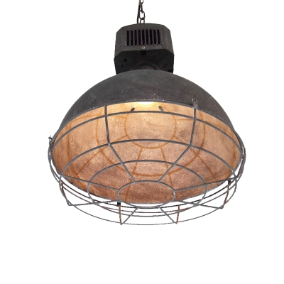 1 Light Weathered Iron Wire Cage Hanging Pendant Light in Heavy Industry Style