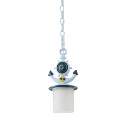 Adjustable Cylinder/Flared Pendant Light Kids White Glass 1 Light Hanging Pendant Light in Blue