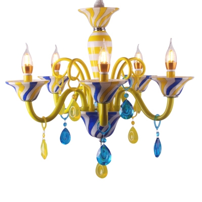 Dining Room Chandelier Ceiling Light Fixture Candle Style Crystal Ball Gooseneck Chandelier