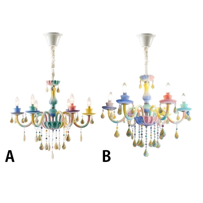 Fancy Crystal Chandelier Candle Style Girls Bedroom Chandelier with Crystal Balls