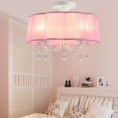 French Country Pink/Purple Drum Shade Chandelier 5 Light Crystal Chandelier in White Finish