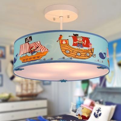 Drum 3 Light Semi Flush Light with Pirate Ship Nautical Boys Room Blue Acrylic Semi Ceiling Chandelier