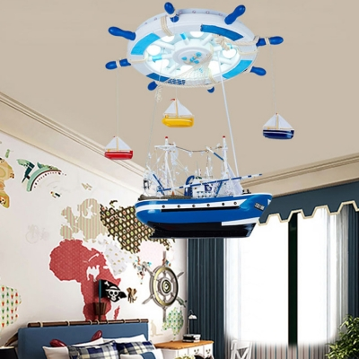 Sailboat Shape LED Ceiling Chandelier Mediterranean Blue Acrylic Flush Mount Lighting for Boys