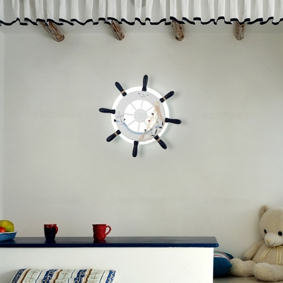 Mediterranean Ship Wheel Wall Lamp Boys Room Acrylic LED Wall Lighting in White/Blue