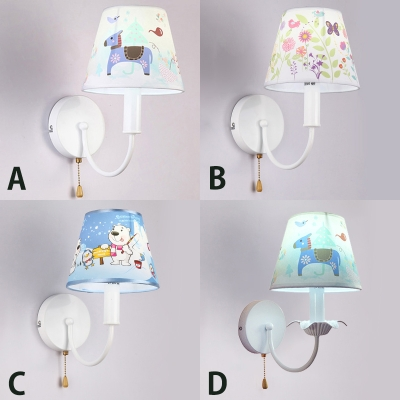 Curved Arm 1 Head Wall Lamp With Animal Pattern White Finish Fabric Shade Light Fixture