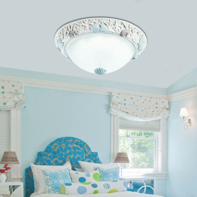 Children Room Seashell Ceiling Light Seaside Glass 1 Light Flush Mount Fixture in Warm/White