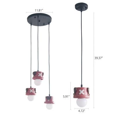 Lovely Plastic Cartoon Deer Hanging Lamp Children Bedroom 1/3 Light LED Suspended Light in Pink