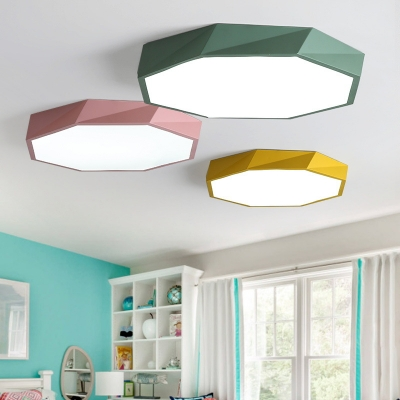 Acrylic Polygon Ceiling Flush Mount Macaron Modern Design LED Ceiling Lamp in Green/Pink/Yellow