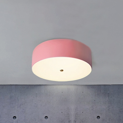 Macaron Simple Dome Ceiling Fixture Metallic Ceiling Flush Mount in Green/Pink/White