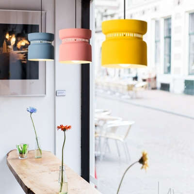 Metal Pendant Lamp with Cylinder Shade Modern Fashion 1 Light Suspended Light for Kids
