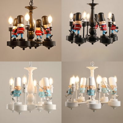 Cartoon Guard Suspension Light Vintage Country Style Metal 4/5 Lights Chandelier in Black/White