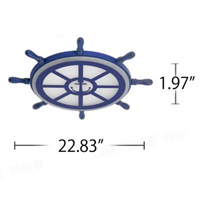 Nautical Ship Wheel Flush Mount Fixture Kids Acrylic 1 Light LED Ceiling Light in Navy Blue