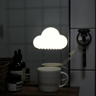 USB Rechargeable Stick Anywhere Mini Cloud LED Night Light forKids Room in Yellow/White