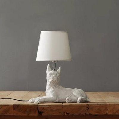 Dog White Table Lamp for Kids Bedroom with Linen Shade