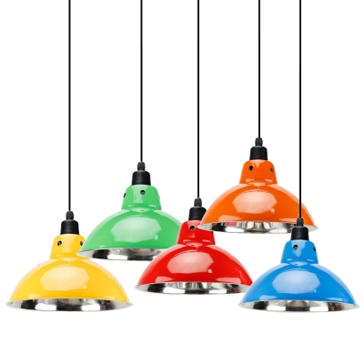 Multiple Colors Simple Style Restaurant Dining Hall Hanging Lamp with Metal Dome Shade