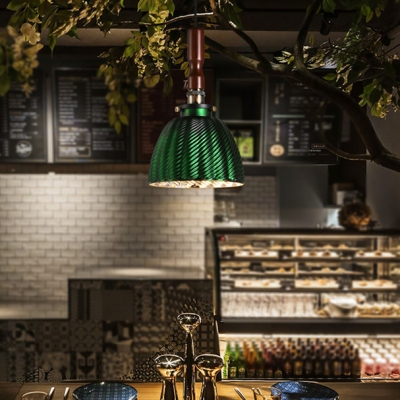 Forest Green Finish Single Bulb Pendant Light with Swirl Metal Dome Shade for Restaurant