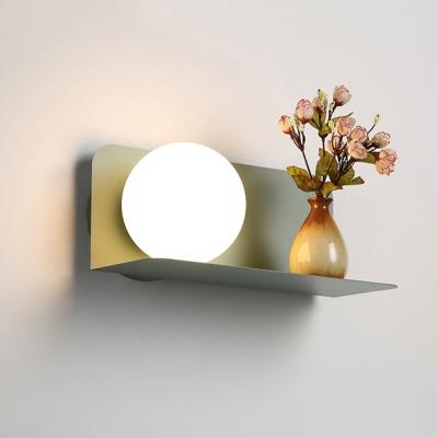 Macaron Simple Globe Wall Lighting White Glass 1 Head Wall Mount Fixture for Coffee Shop