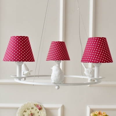 Tapered Suspended Light with Bird Decoration American Retro Plastic 3 Lights Chandelier Light