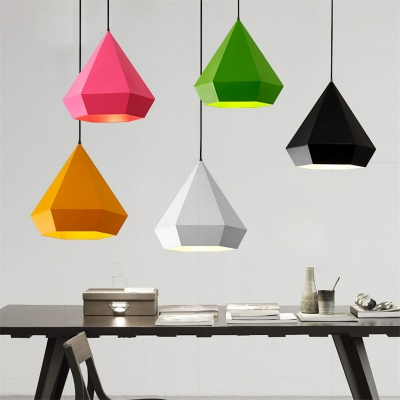 Metallic Diamond Pendant Lamp Nordic Style Bedroom 1 Light Suspension Light for Children