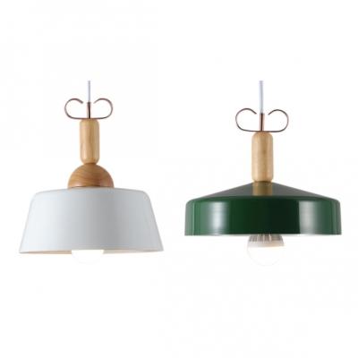 Wood Grain Finish 1 Light Ceiling Pendant Light with Forest Green/White Metal Barn Shade, HL478651