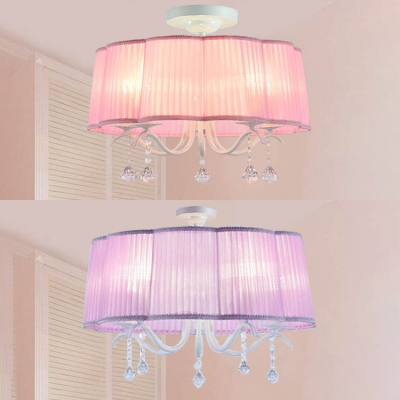 French Country Pink Purple Drum Shade Chandelier 5 Light