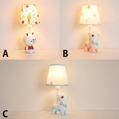Nursing Room Cone Table Light With Bunny Deer Plastic Single Light Reading Light In White Beautifulhalo Com
