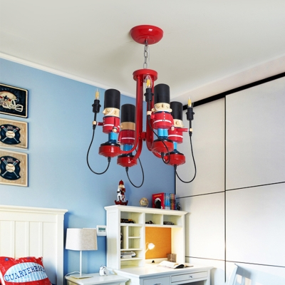 Cartoon Style Open Bulb Chandelier Metallic 4 Bulbs Hanging Light in Red for Kids Baby