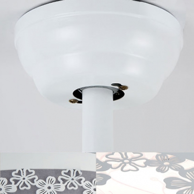 Nordic Style Elegant White Retractable Ceiling Fan 14.18 Inch with Flowers
