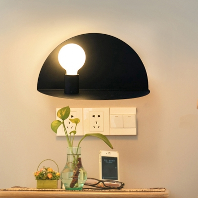Metallic Open Bulb Wall Light Nordic Style Colorful 1 Light Sconce Lighting for Corridor Bedside