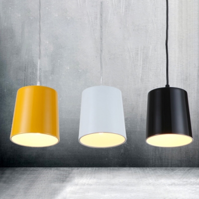 Simple Bucket Shade 1 Light Ceiling Pendant in Polished Black/White/Yellow Finish