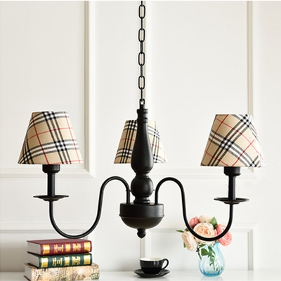 3 Lights Shaded Chandelier Light Lodge Style Fabric Decorative Lighting Fixture in Black Finish