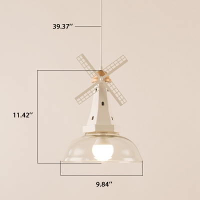 Windmill White 1 Light Hanging Pendant  with Glass Dome Shade