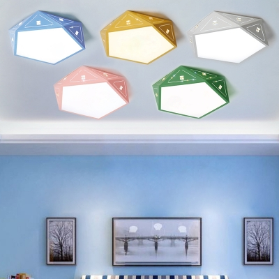 Geometric Ceiling Fixture Stylish Macaron Acrylic Flush Mount Lighting for Kids in Third Gear