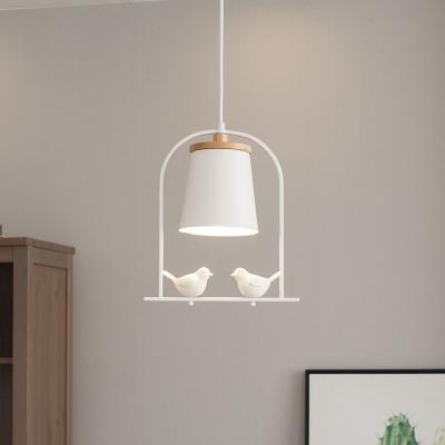 1-Light Wood Shde Hanging Pendant Light with Birds