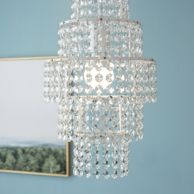 Bathroom Kitchen Girls Bedroom Crystal Empire Pendant Chandelier in White Finish