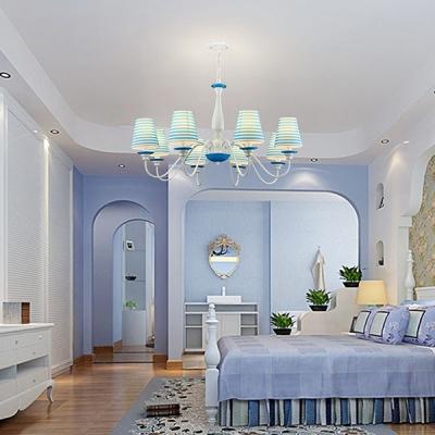 Mediterranean Stripes Island Chandelier Kids Room Fabric 3/5/8 Lights Ceiling Fixture in White