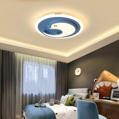 Dolphin White and Blue LED Kids Room Flush Ceiling Lamp
