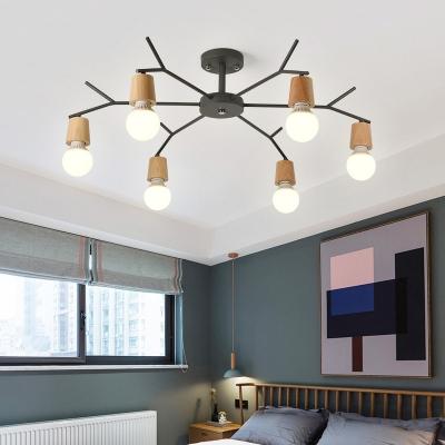 Simplicity Open Bulb Suspension Light Living Room Metallic 5/6 Lights Chandelier Light