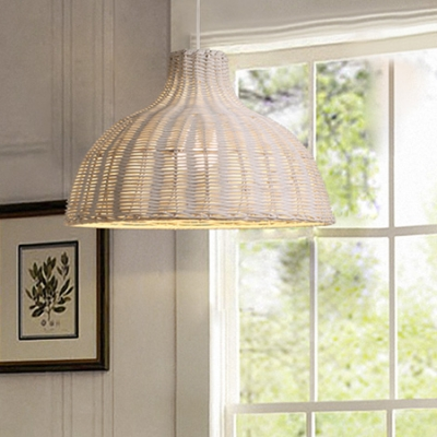 Lodge Style 1-Light Dining Room Hanging Lamp with Brown/White Cane Shade