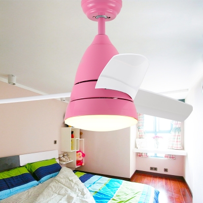 Macaroon Blue/Pink LED Kids Room Ceiling Fan with 3 Blade 10.24 Inch Width