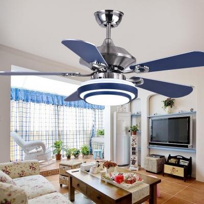 Mediterranean Style 5 Blade 16.54''  Width Chandelier Ceiling Fan for Living Room in Stainless Steel