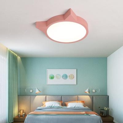 Cat Shape Ceiling Flush Mount Macaron Green/Pink/Yellow Acrylic LED Ceiling Light for Girl