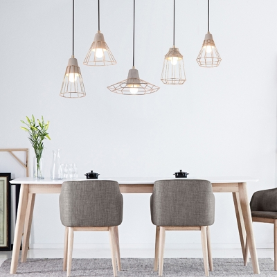 Nordic Style Wire Guard LED Light Ceiling Pendant 5 Designs for Option
