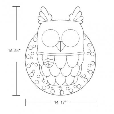 Resin 2-Light Lovely Owl Wall Sconce in White