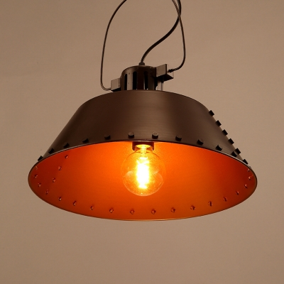 Vintage Style Coffee Shop 1 Light Ceiling Pendant with Old Bronze Barn Shade 15.75