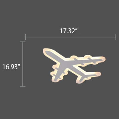 Airplane Shape Ultra-Thin Boys Room LED Ceiling Light 21.25 Inch
