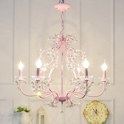 Contemporary Kid Crystal Chandelier Pink Blooming Bouquet Crystal Chandelier with Crystal Balls