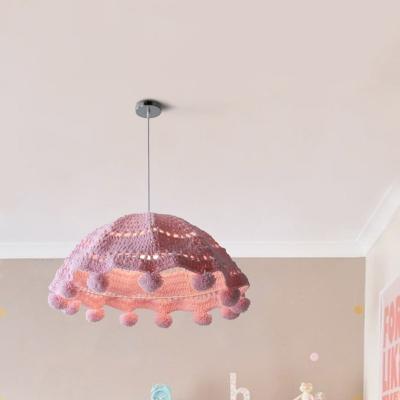 Cotton Shade Single Light Kids Bedroom Hanging Fixture in Pink/Blue/Grey