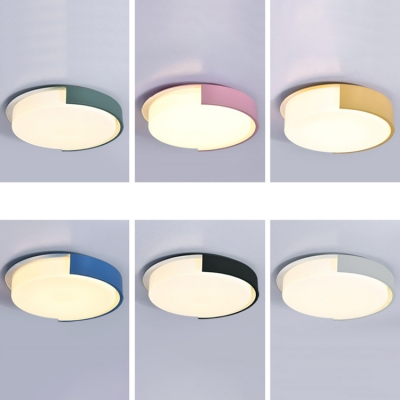Drum Shade Led Flushmount Nordic Style Colorful Living Room Bedroom