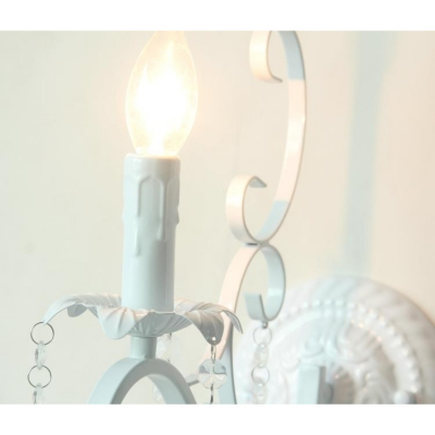 Indoor Crystal 1 Light White Wall Light for Bedroom Living Room Hallway